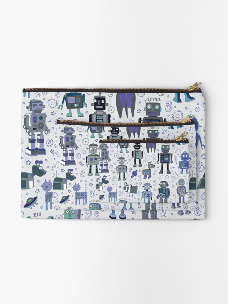 Alternate view of Robots in Space - blue and grey - fun pattern by a Cecca Designs Zipper Pouch