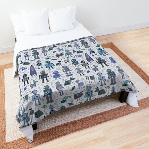 Robots in Space - blue and grey - fun pattern by a Cecca Designs Comforter