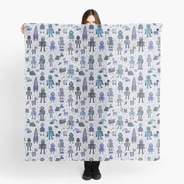 Robots in Space - blue and grey - fun pattern by a Cecca Designs Scarf