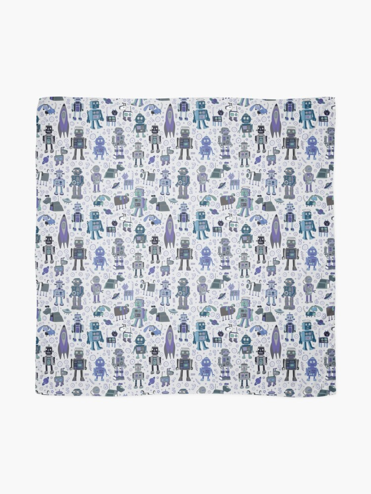 Alternate view of Robots in Space - blue and grey - fun pattern by a Cecca Designs Scarf