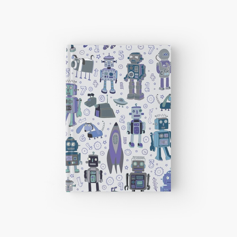 Robots in Space - blue and grey - fun pattern by a Cecca Designs Hardcover Journal