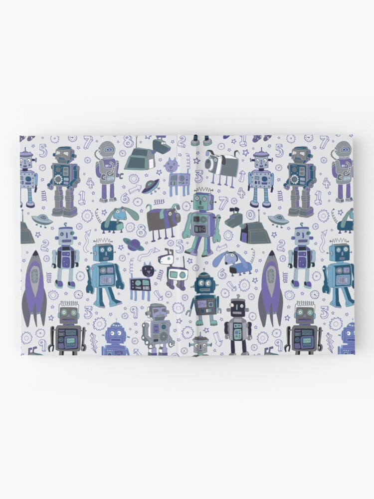 Alternate view of Robots in Space - blue and grey - fun pattern by a Cecca Designs Hardcover Journal
