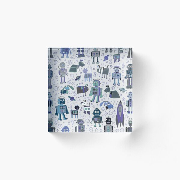 Robots in Space - blue and grey - fun pattern by a Cecca Designs Acrylic Block