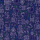 Robot Pattern - Navy - fun pattern by Cecca Designs by Cecca-Designs