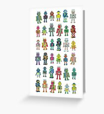 Robot Line-up on White - fun pattern by Cecca Designs Greeting Card