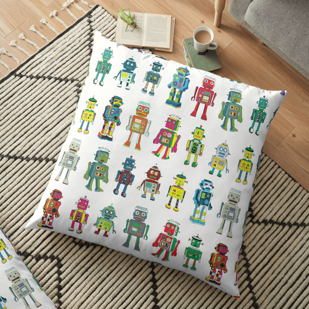 Robot Line-up on White - fun pattern by Cecca Designs Floor Pillow