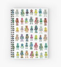 Robot Line-up on White - fun pattern by Cecca Designs Spiral Notebook