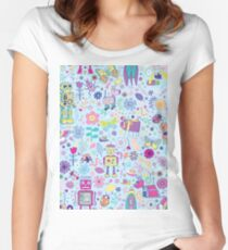 Electric Dreams - fun floral robot pattern by Cecca Designs Women's Fitted Scoop T-Shirt