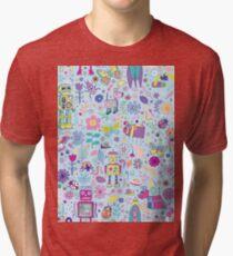 Electric Dreams - fun floral robot pattern by Cecca Designs Tri-blend T-Shirt