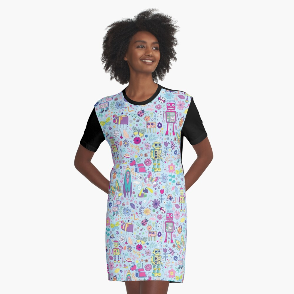 Electric Dreams - fun floral robot pattern by Cecca Designs Graphic T-Shirt Dress Front