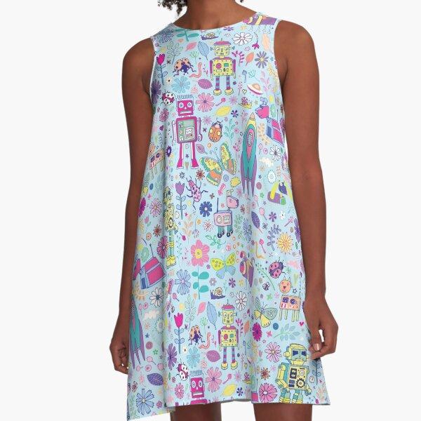 Electric Dreams - fun floral robot pattern by Cecca Designs A-Line Dress