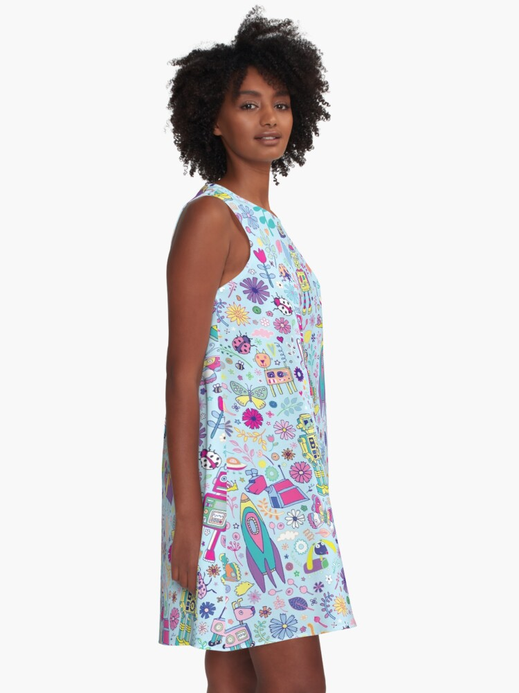 Alternate view of Electric Dreams - fun floral robot pattern by Cecca Designs A-Line Dress