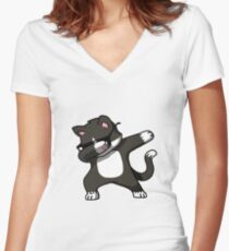 Cat dab Women's Fitted V-Neck T-Shirt