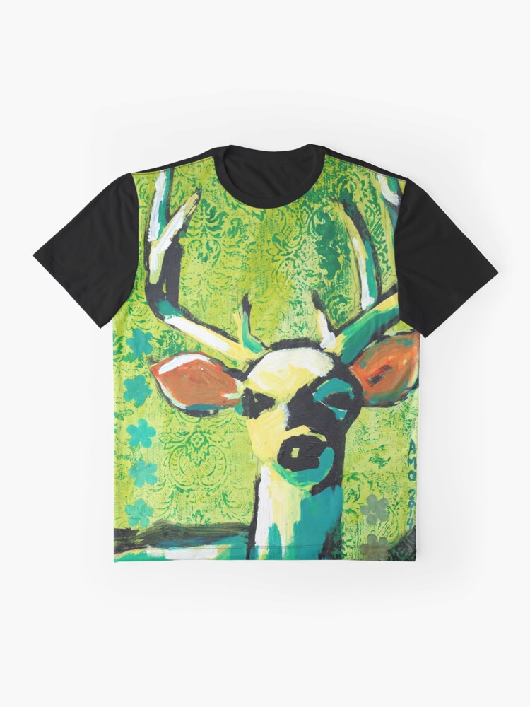 Alternate view of Deer With Orange Ears Graphic T-Shirt