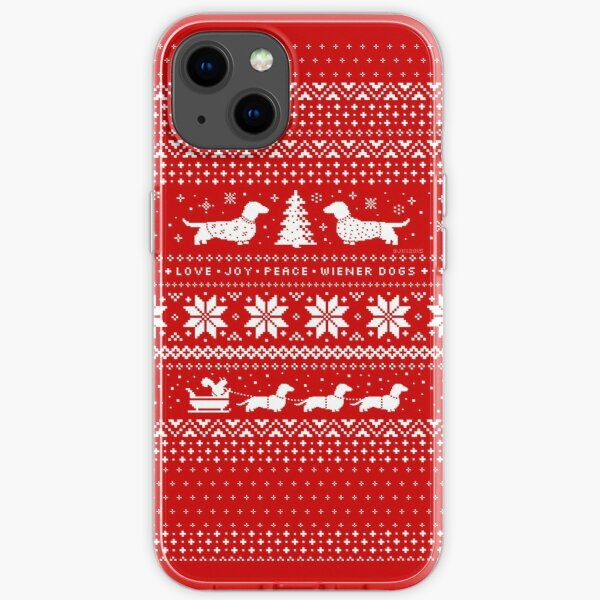 Dachshunds Christmas Sweater Pattern iPhone Soft Case
