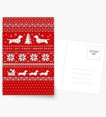 Dachshunds Christmas Sweater Pattern Postcards