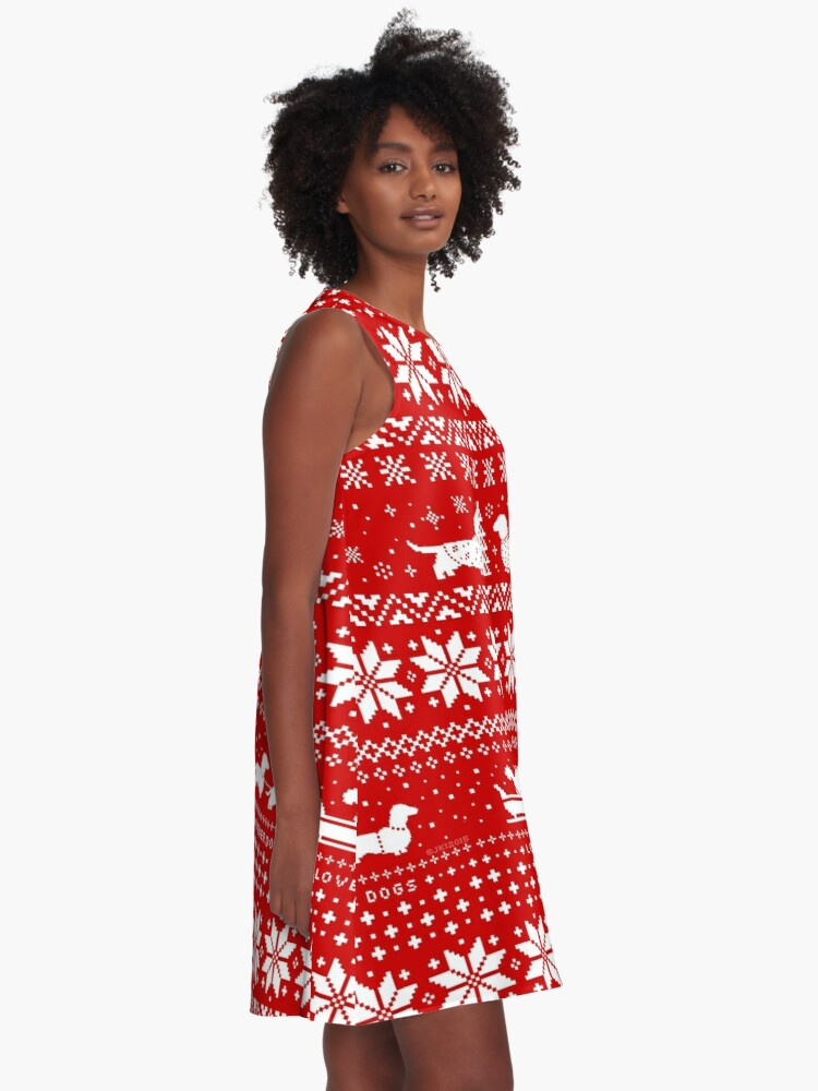 Alternate view of Dachshunds Christmas Sweater Pattern A-Line Dress