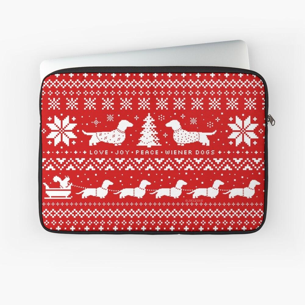 Dachshunds Christmas Sweater Pattern Laptop Sleeve