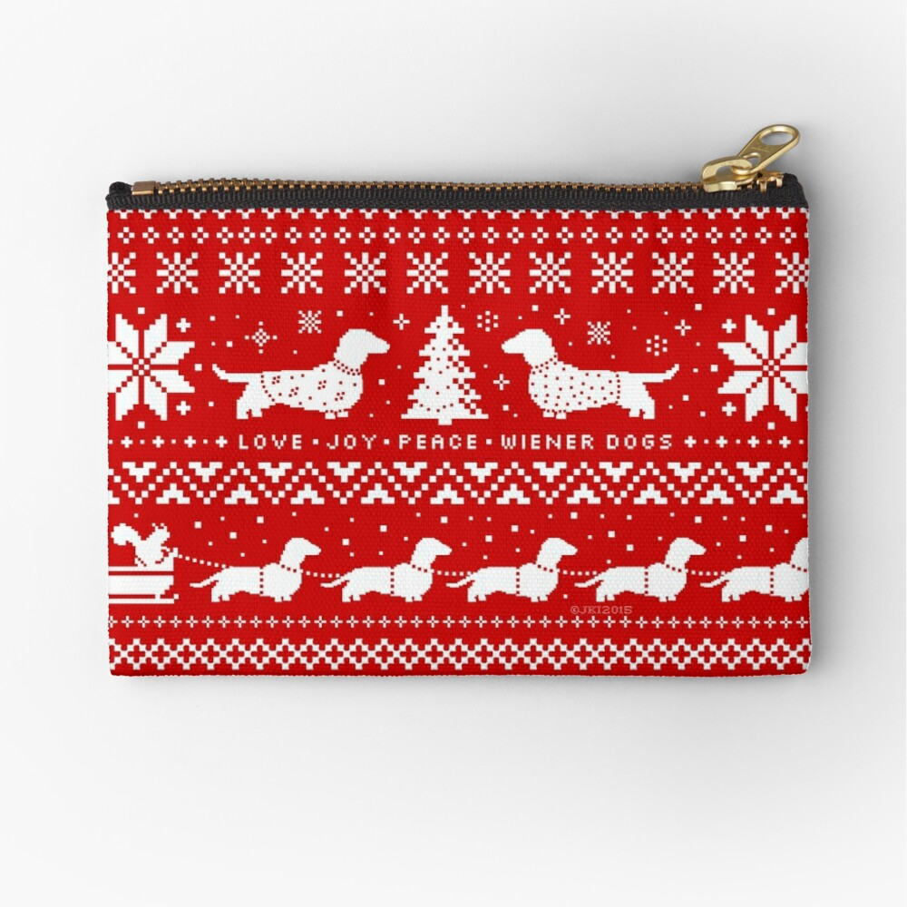 Dachshunds Christmas Sweater Pattern Zipper Pouch