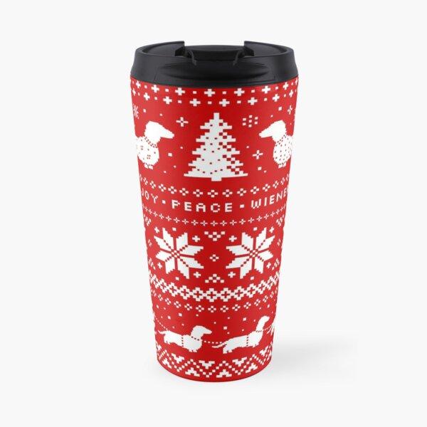 Dachshunds Christmas Sweater Pattern Travel Mug