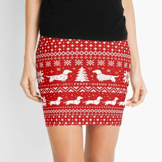 Dachshunds Christmas Sweater Pattern Mini Skirt
