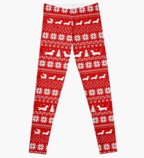 Dachshunds Christmas Sweater Pattern Leggings