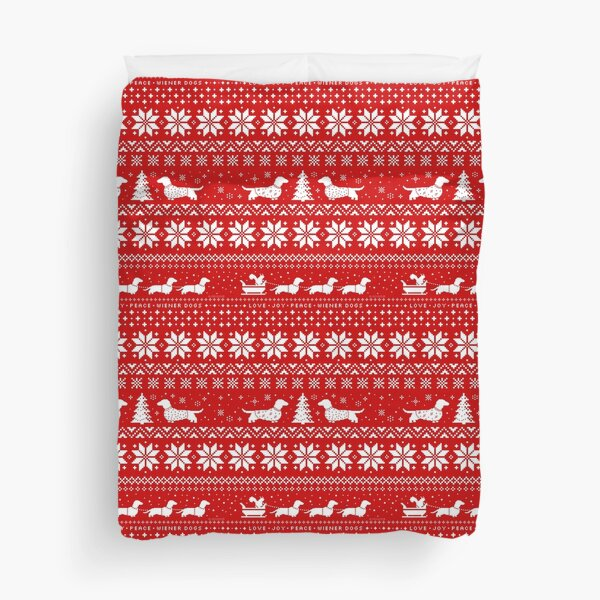 Dachshunds Christmas Sweater Pattern Duvet Cover