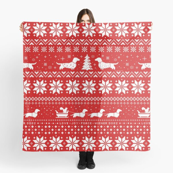Dachshunds Christmas Sweater Pattern Scarf