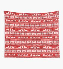 Dachshunds Christmas Sweater Pattern Wall Tapestry