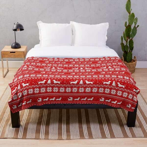 Dachshunds Christmas Sweater Pattern Throw Blanket
