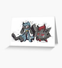 Pokemon Zoro and Riolu Greeting Card