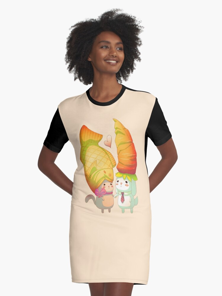 Taiyaki and carrots Graphic T-Shirt Dress Front