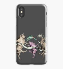Whimsical Dancing Cow Pig Deer and Fish iPhone Case/Skin