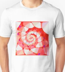 Red Spiral Staircase Low Poly Fractal Art T-Shirt
