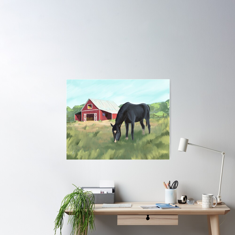 Horse grazing pasture by barn Poster