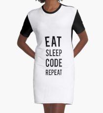 Eat Sleep Code Repeat Graphic T-Shirt Dress