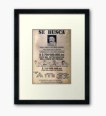 Lámina enmarcada Pablo Escobar wanted poster