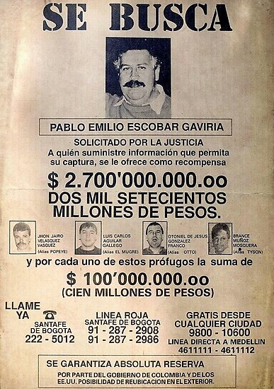 Quot Pablo Escobar Wanted Poster Quot Photographic Print By