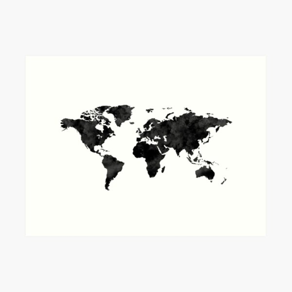 Watercolor World Map / Black and White  Art Print
