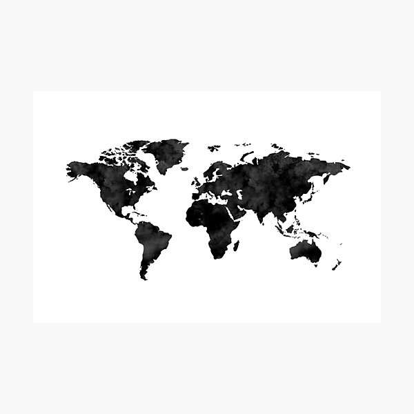 Watercolor World Map / Black and White  Photographic Print