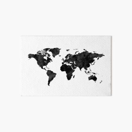 Watercolor World Map / Black and White  Art Board Print