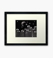 scary shadow ghosts under shinny crescent moon  Framed Print