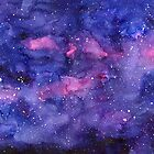 Watercolor Galaxy Pink Purple Abstract Texture by Olga Shvartsur