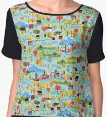 Illustrated Map Fall Color Roadtrip Women's Chiffon Top