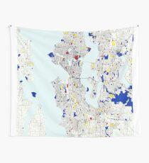 Seattle Piet Mondrian Style City Street Map Art Wall Tapestry