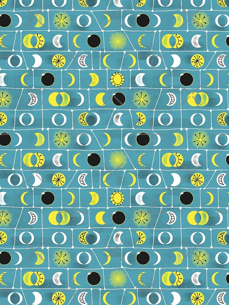 Solar Eclipse Mid Century Style in Teal, Yellow, Black and White by vinpauld