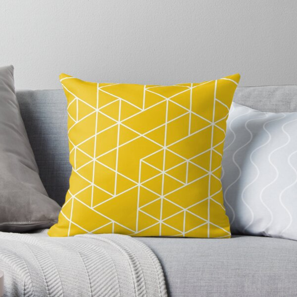 triangles, white and saturated yellow Throw Pillow