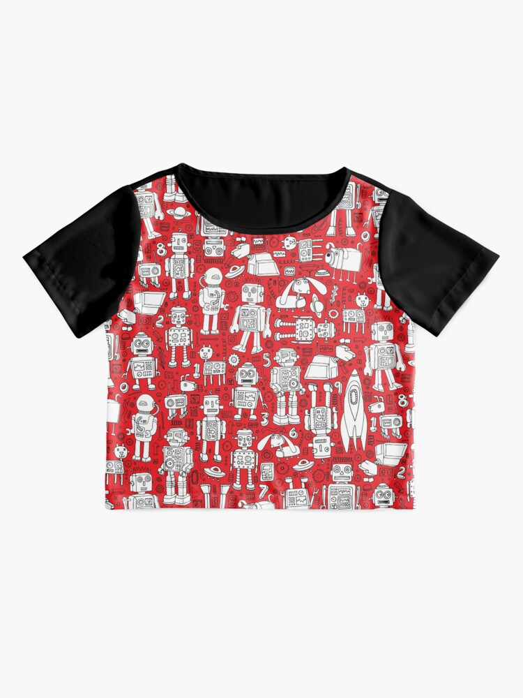 Alternate view of Robot Pattern - Red and White - fun pattern by Cecca Designs Chiffon Top