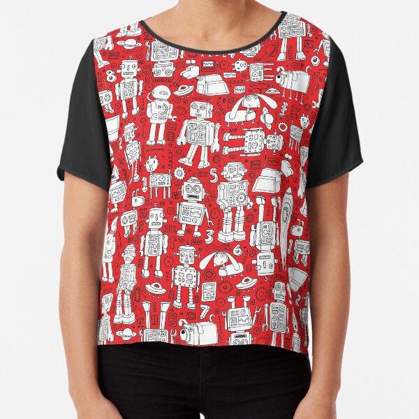 Robot Pattern - Red and White - fun pattern by Cecca Designs Chiffon Top