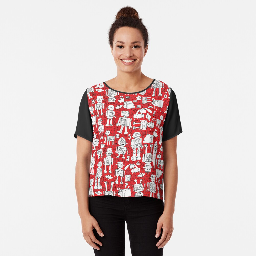 Robot Pattern - Red and White - fun pattern by Cecca Designs Chiffon Top